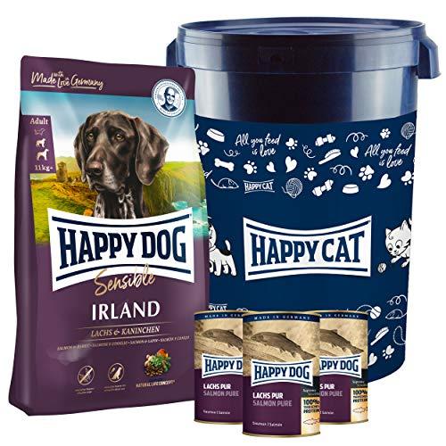 Happy Dog Irland Premium Hundefutter 12,5 kg + Gratis Futtertonne inklusive Deckel sowie 2 x 375 g Dosen Lachs pur. EIN tolles Gefühl seinem Hund was Gutes zu tun.