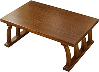 Table Small Solid Wood Bay Window Coffee Table Japanese-Style Tatami Table Balcony Small Table Chinese School Table Calligraphy Table Tables (Color : Brown-A, Size : 70 * 45 * 30CM)