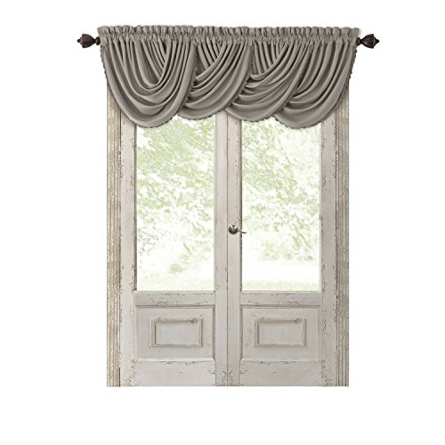 "Elrene Home Fashions All Seasons Room Darkening Rod Pocket Waterfall Window Valance, 52"" x 36"" (1, Silver"