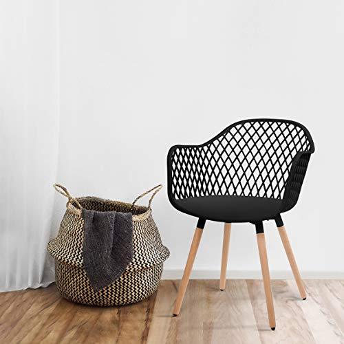 Mc Haus DIAMOND- Pack 2 Sillas Comedor modernas silla Nórdica Salón diseño dormitorio cocina escritorio color Negro 58x45x84,5cm