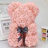Fafalloagrron - Décoration en forme d'ours en fleurs artificielles faites à la main - Pour un mariage, la Saint-Valentin, un anniversaire, une fête, Mousse, rose clair, 9.45x6.69in