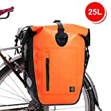 WATERFLY 25L Bike Bag Bike Panniers Bag Waterproof Bike Saddle Bag Extensible Bicycle Rear Seat Bag Shoulder Bag with Rain Cover for Riding Cycling (Orange)