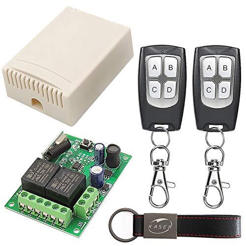 KASER Receptor Universal 433 MHz Radio Receptor con Transmisor Autoaprendizaje 2 Canales para Garaje Puertas Portón Automática Persianas Luces Motor Relay DC 6V 12V 24V (Incluyendo 2 mandos)