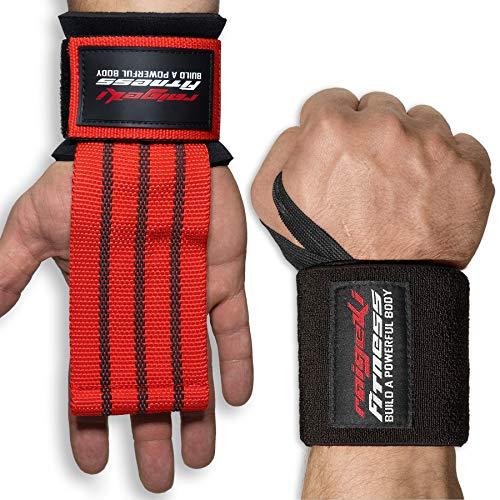Muñequeras + bandas de sujeción Fast Grip [set] cierre rápido profesional (+ planes de entrenamiento) para fitness, entrenamiento de fuerza y culturismo, para mujeres y hombres (rojo y negro)