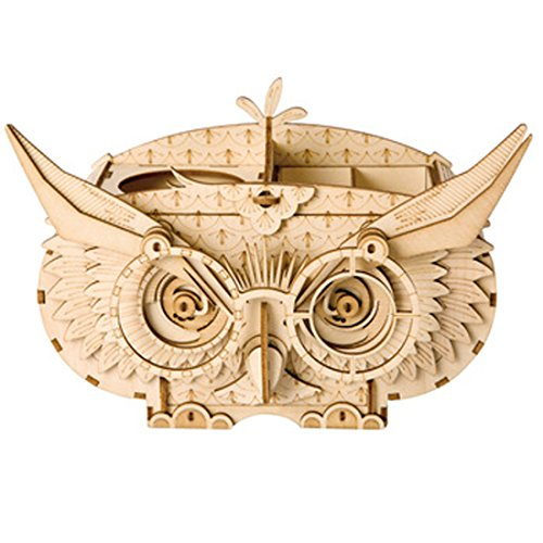 Rolife 3D Wooden Puzzle Creative Owl Box Wood Pen Pencil Container Holder Wooden Craft Kits Brain Teaser 3D Wood Puzzle for Kids Adults Best Birthday Gifts
