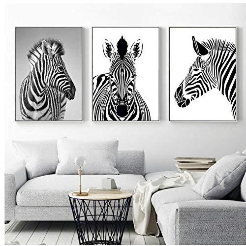 Cuadro de cebra en blanco y negro Decoraciónación dulce Pintura de lienzo nórdico Impresión de arte de pared Cartel de animal lindo para sala de estar nórdica 50x70cmx3 Sin marco