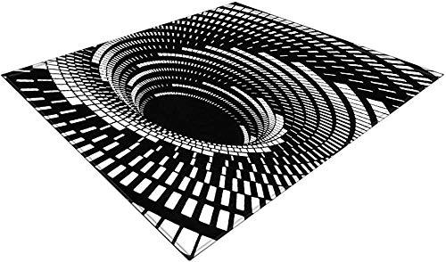 Alfombra 3D Vortex Illusion Alfombra Negro Blanco Antideslizante Suave Alfombrilla para pies Cojín para dormitorios de niños Aulas-80_X_120cm