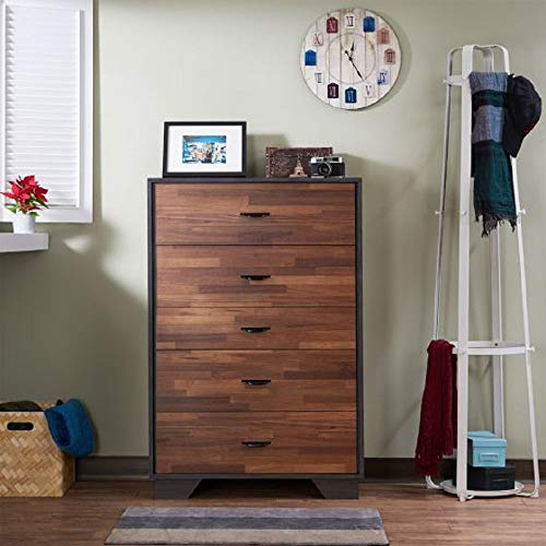 espresso 5 drawer dresser - 7