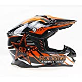 WenYan Adulti Motocross Casco MX Moto Casco Scooter ATV Casco Strada Gara Rockstar Motocross Race Head Protezione,Orange,M(55~56cm)
