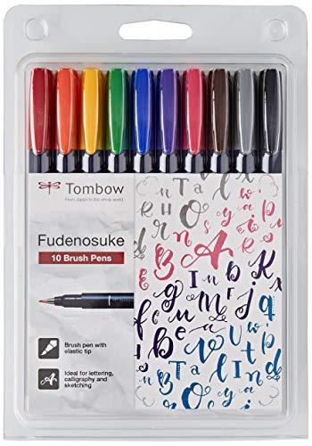 Tombow WS-BH-10P - Rotulador (Fino/Medio, 10 Colores, Negro, Azul, Verde, Gris, Naranja, Rosa, Amarillo, Bullet tip & Brush tip, Multicolor, Alrededor)