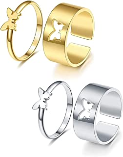 4PCS Butterfly Ring for Women, Matching Butterfly Rings for Couples Teen Girls Men Adjustable Silver Gold Plated Split Met...
