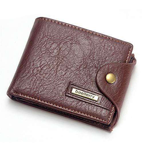 SHINING KIDS Querschnitt Herren Brieftasche Kurze Schnalle Anti-Diebstahl Multifunktions Kartenhalter,Brown