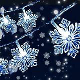 Qxmcov Cadenas de Luces, Luces LED de Navidad Luces de Copo de Nieve de Navidad, 8m 50 Led Con de Control Remoto 8 Modos, Luces Decorativas de Interior/Exterior para Árbol, Fiesta, Cumpleaños