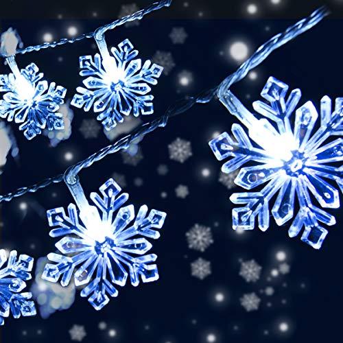 Catena Luminosa Fiocco di Neve Stringa Fata Luce, Qxmcov 8 Metri Luci Stringa Decorative con 50 LED Fiocco di Neve Impermeabili per Giardino di Natale Patio Camera da letto Decorazioni Illuminazione