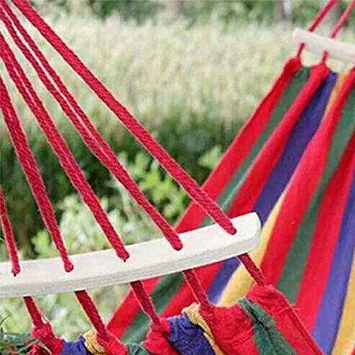 ZYR Rainbow Outdoor Leisure Portable Hammock Canvas Hammocks Ultralight Camping Hammock Lazy Chair Travel Camping,Red