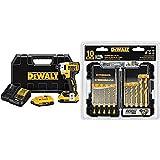 DEWALT DCF887D2 20V MAX XR Li-ion 2.0 Ah Brushless 0.25' 3-Speed Impact Driver Kit with DEWALT Titanium Drill Bit Set, 10-Piece Impact Ready (DD5160)