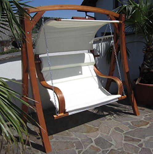 ASS Design Hollywoodschaukel Gartenschaukel MERU aus Holz Lärche inkl. Abdeckung von AS-S, Farbe:Cremeweiss - 6
