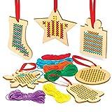 Baker Ross Kits de punto de cruz de decoración de madera navideña - Ideal para manualidades, regalos, recuerdos y más para niños (paquete de 6)