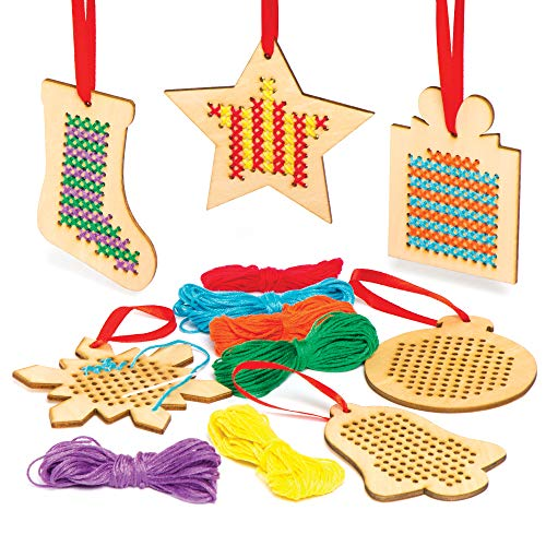 Baker Ross AC505 Christmas Wooden Decoration Cross Stitch Kits — Ideal for Kids' Arts and Crafts, Gifts, Keepsakes and More (Pack of 6)