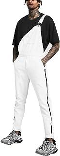 LUCKME Men Dungarees Denim White Jumpsuit Cotton Stripped Bib Overalls Multi-Pocket Plain Brace Overalls Slim Fit Fashion ...