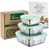 Stainless Steel Food Containers - Set of 3 - Metal Lunch Container, Sandwich Container or Snack Boxes for Kids, Leak Proof Eco Friendly and Food-Grade Safe Storage - Free Healthy Food Recipe ebook