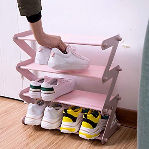 Yzki, scarpiera pieghevole a 4 ripiani, in tessuto non filato, salvaspazio, montaggio fai da te, a prova di umidità, pratica scarpiera da casa, rosa chiaro, Taglia libera
