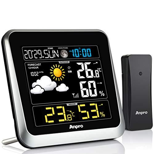 Anpro Wetterstation Funk mit Außensensor - Wetterstationen Innen und Außentemperatur Funk mit Wettervorhersage. Farbdisplay Digital Thermometer Innen und Ausen Raumthermometer Hygrometer