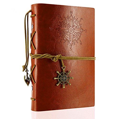 Jessie&Letty, diario/quaderno/agenda Foxnovo, vintage, con copertina in ecopelle di poliuretano Brown