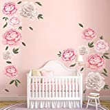 decalmile Giant Peony Flowers Wall Stickers <span class='highlight'>Romantic</span> Floral Wall Decals Girls Bedroom Living Room Wall Art Home Decor(2 Pack)