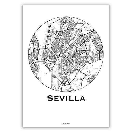 Cartel Sevilla España Minimalista Mapa - City Map, decoración ...