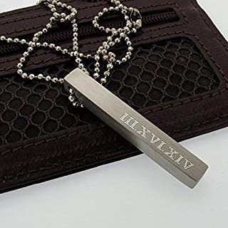Personalized Bar Necklace - Four Sides Engraved Pendant Necklace for Men - Custom Roman Date Vertical Pendant - Mens Gift