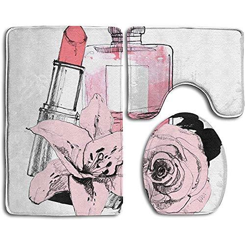 If Not Perfume con lápiz Labial sobre Fondo Blanco Alfombra de baño Alfombra de baño de Moda Alfombrillas Set 3 Piezas