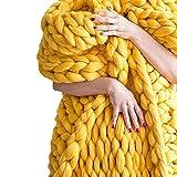 ZCXBHD Manta de punto de brazo grueso, manta de hilo vegano, manta de acrílico ligera, decorativa cálida (color: amarillo, tamaño: 127 x 152 cm)
