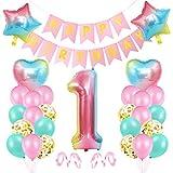 1er Cumpleaños Globos, Decoración de cumpleaños 1 Rosa, Feliz cumpleaños Decoración Globos 1 Años, Foil Globo Número 1 Rosa, Globos de Aluminio para Niñas, Globos Confeti Aluminio para Fiestas Niñas