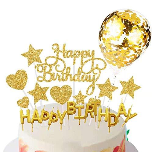 SunAurora Happy Birthday Cake Topper, Decorazione per Torta, Candeline Compleanno, Coriandoli Palloncino, Stelle Cuori Topper Torta, per Matrimonio Compleanno Baby Shower Party Decorazioni (Oro)