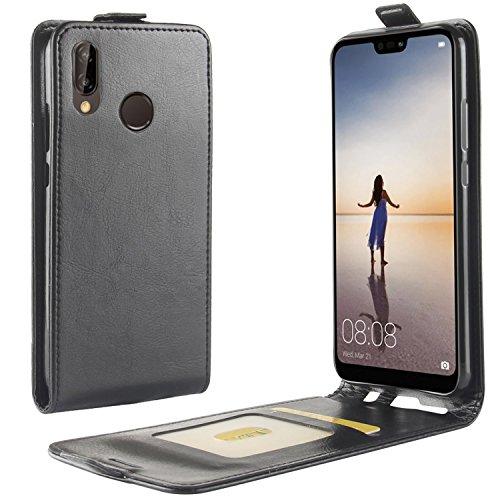 HualuBro Huawei P20 Lite Hülle, Leder Brieftasche Etui Tasche Schutzhülle HandyHülle [Magnetic Closure] Leather Wallet Flip Hülle Cover für Huawei P20 Lite (Schwarz)