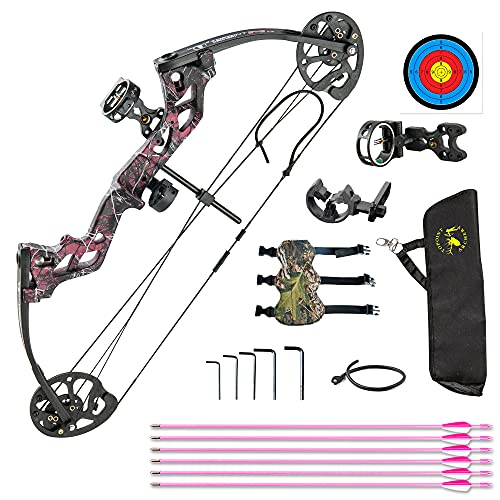 """Archery Compound Bow Set for Kids and Juniors,Adjustable 17""""-27"""" Draw Length,10-30 lbs Draw Weight,Complete Package,Right Handed Only (Completely Package-red) (Basic Package-Muddy Girl)"""