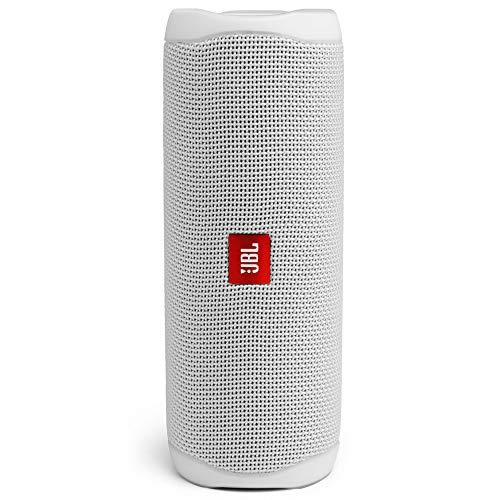 JBL Flip 5 Bluetooth Box (Wasserdichter, portabler Lautsprecher mit umwerfendem Sound, bis zu 12 Stunden kabellos Musik abspielen) weiß