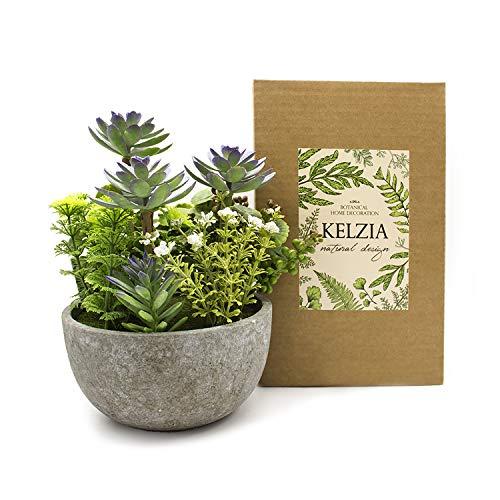 KELZIA Planta Artificial - 1 Maceta con Decoraciones de Plantas Falsas -...