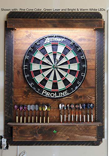 Lighted Darts Board Cabinet LED - Dartboard Throw Line Laser - Electronic Dartboard Cabinet Wi-Fi App