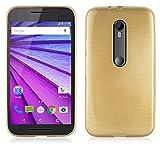 Cadorabo Funda para Motorola Moto G3 en Oro - Cubierta Proteccíon de Silicona TPU Delgada e Flexible con Antichoque - Gel Case Cover Carcasa Ligera