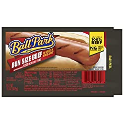 Ball Park Beef Hot Dogs, Bun Size Length, 8 Count