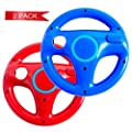 DOYO 2 Pack Red and Blue Wheel Steering Wii Controller Design Stand Mario Kart Racing Game Steering Wheel Stand for Wii Game Controller