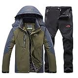 Qitun Hombre de Trekking Impermeable Deportivos Transpirable Pantalones Chaqueta de Esquí Impermeable Chaqueta de Nieve Excursionismo Conjunto Verde del ejército B M