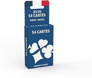 Jeu de 54 Cartes - Fabriqué en France - Jeu de Poker, Président, Palmito, 8 Américain Multicolore