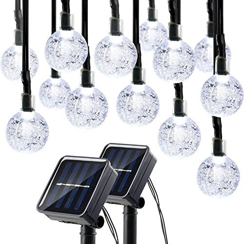Lumitify 2 Pack Globe Solar String Lights Outdoor, 19.7ft 30 LED Fairy Crystal Ball Solar Decorative Lights (White)