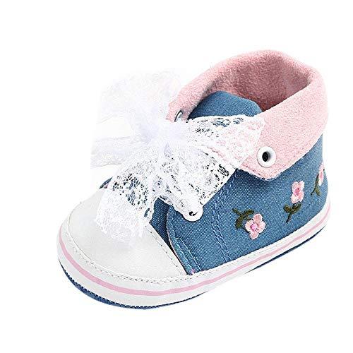 Doublehero Babyschuhe Baby Sneaker Mädchen Turnschuhe, Weiche und Rutschfester Sohle Nette Spitze Bow Weiche Sohle Leinwand Sneaker Krabbelschuhe Outdoor Schuhe für Unisex Kinder (0-6 Monate, Blau)