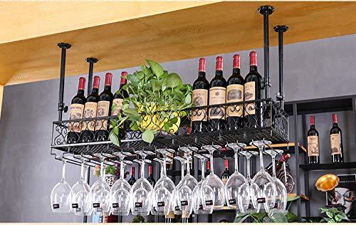 lanying Weinregal Schränke Weinschränke,Die Höhe des Wandbehangbechers ist einstellbar und der Metallweinhalter des Becherhalters-schwarz_120 * 25 cm