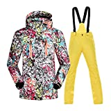 Frauen-Ski-Anzüge, Ski-Jacke Und Hose Set Von 2, Windundurchlässigem Wasserdichtem Breathable Snowsuit, Snowboard Coverall Outfit, Großer Gang Für Den Winter,Gelb,L