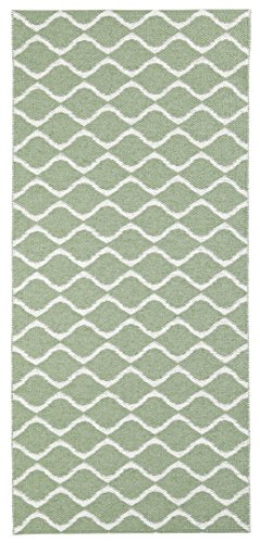 Horredsmattan Kunstfaser Teppich und Haus und Garten, waschbar. Design Wave grün (70 x 100 cm)